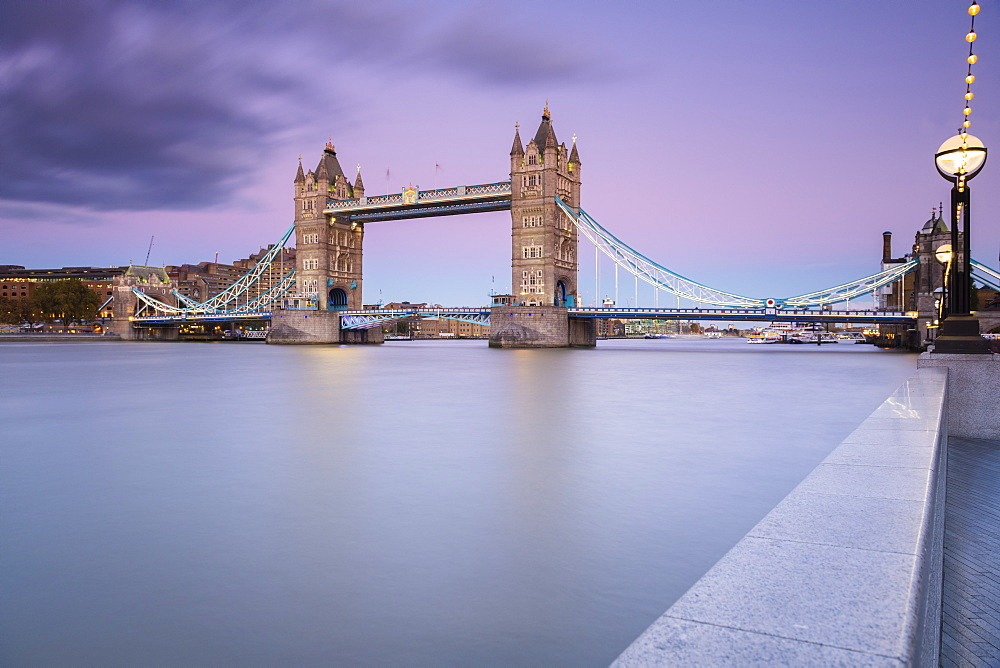 Tower Bridge from the south bank of the river Thames, London, England
