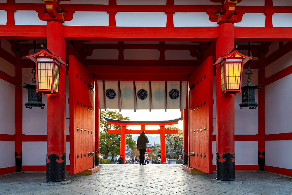 Fushimi Inari Taisha shrine and torii gates, Kyoto, Japan, Asia