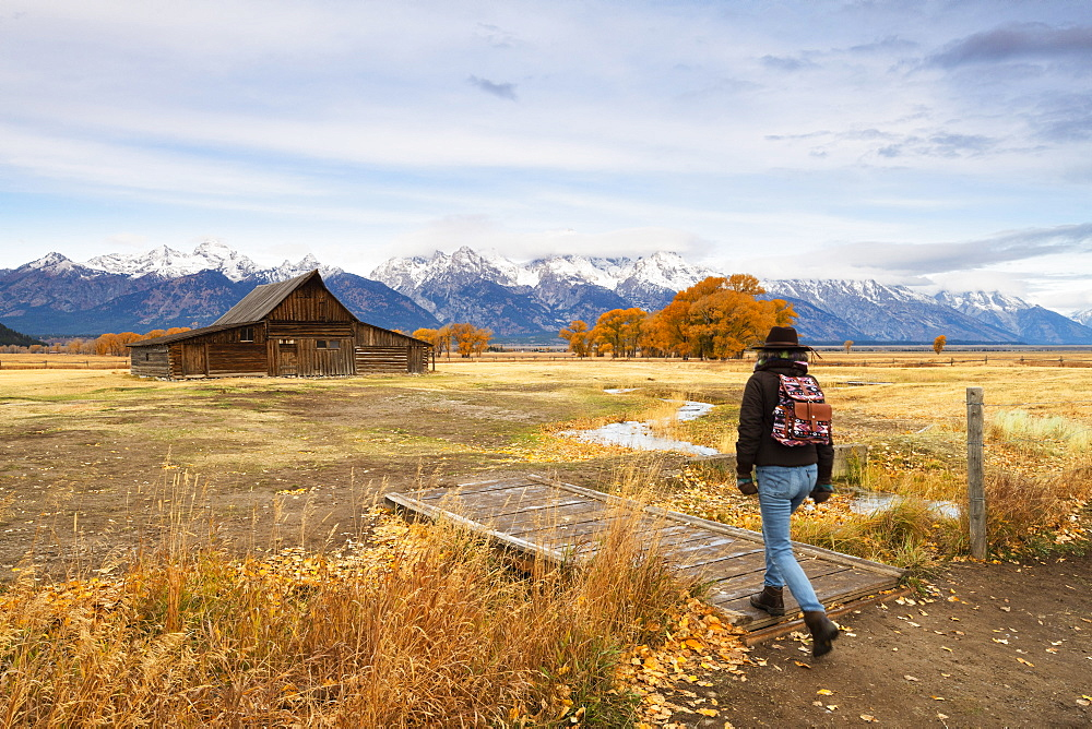 Woman at Mormon Row and Teton Range, Grand Teton National Park, Wyoming, United States of America, North America