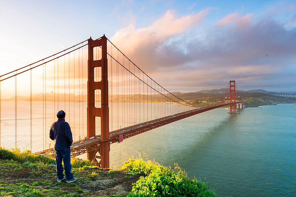 View of the city and Golden gate bridge from Marin Headlands San Francisco, California, United States - 1186-832