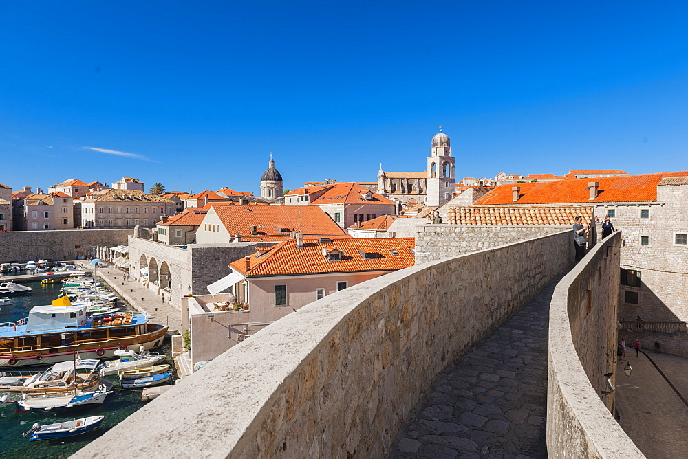 Dubrovnik Harbour and walls, UNESCO World Heritage Site, Dubrovnik, Croatia, Europe