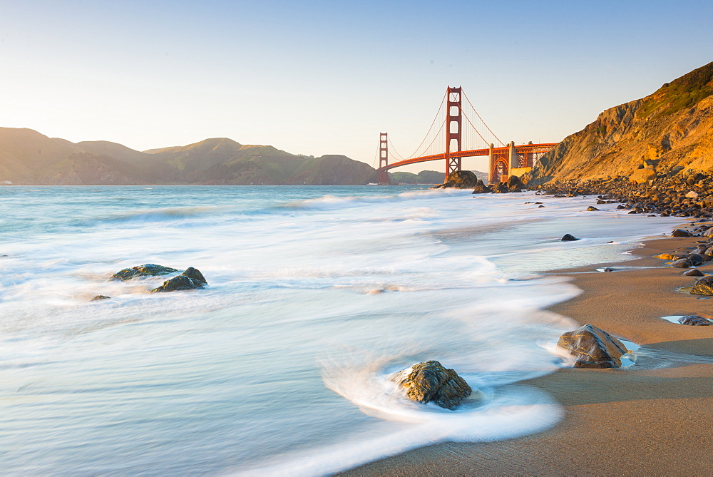 Golden gate bridge from Marshall's beach San Francisco, California, United States