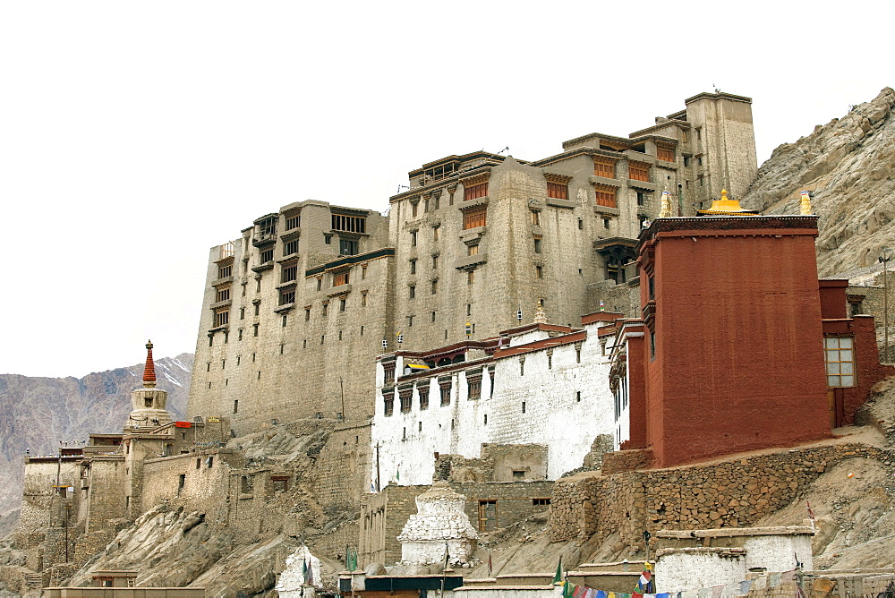 Palace in Leh with LAMO house below. Ladakh, India, Asia - 1196-263