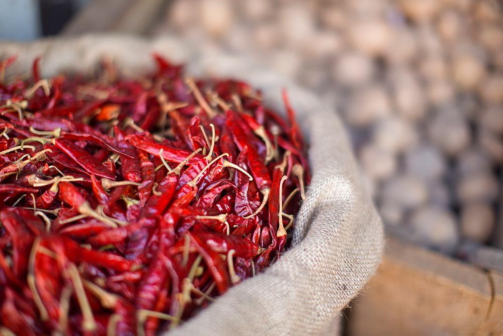 Dried chillies, Dambulla, Sri Lanka, Asia