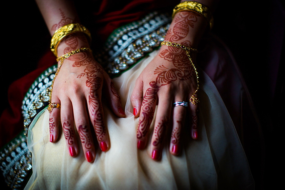 Henna on bride's hands, United Kingdom, Europe