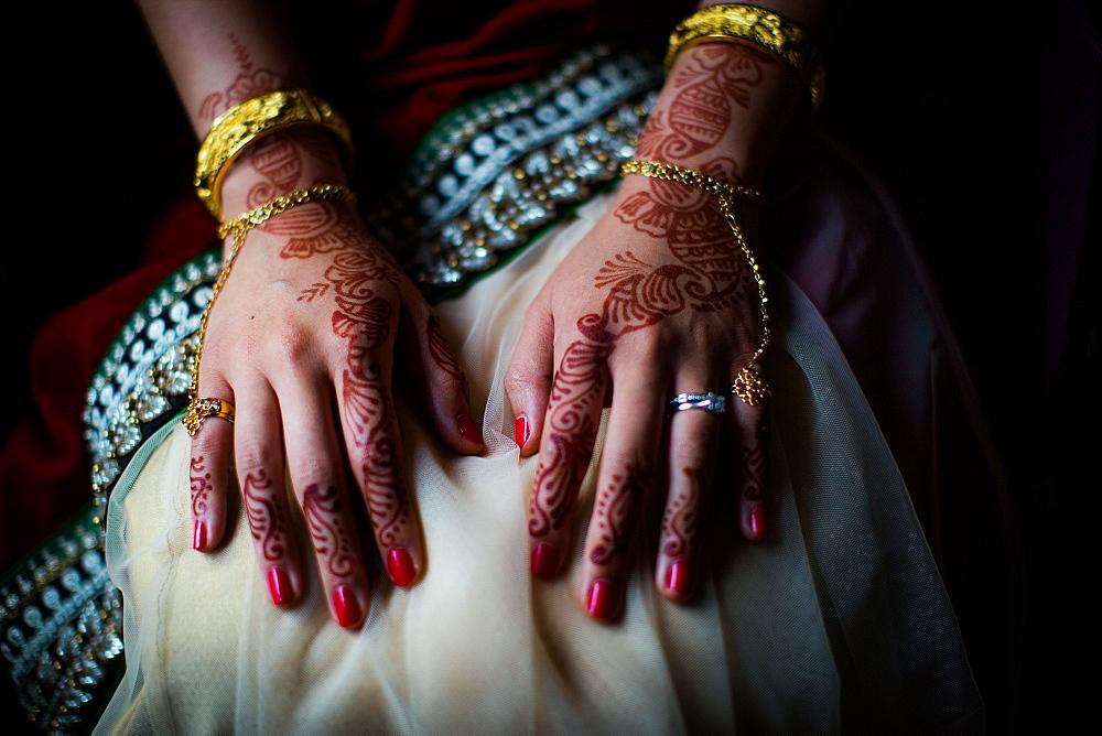 Henna on bride's hands, United Kingdom, Europe