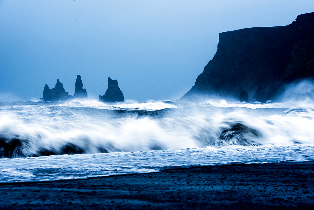Crashing waves on Black Sand Beach, Iceland, Polar Regions