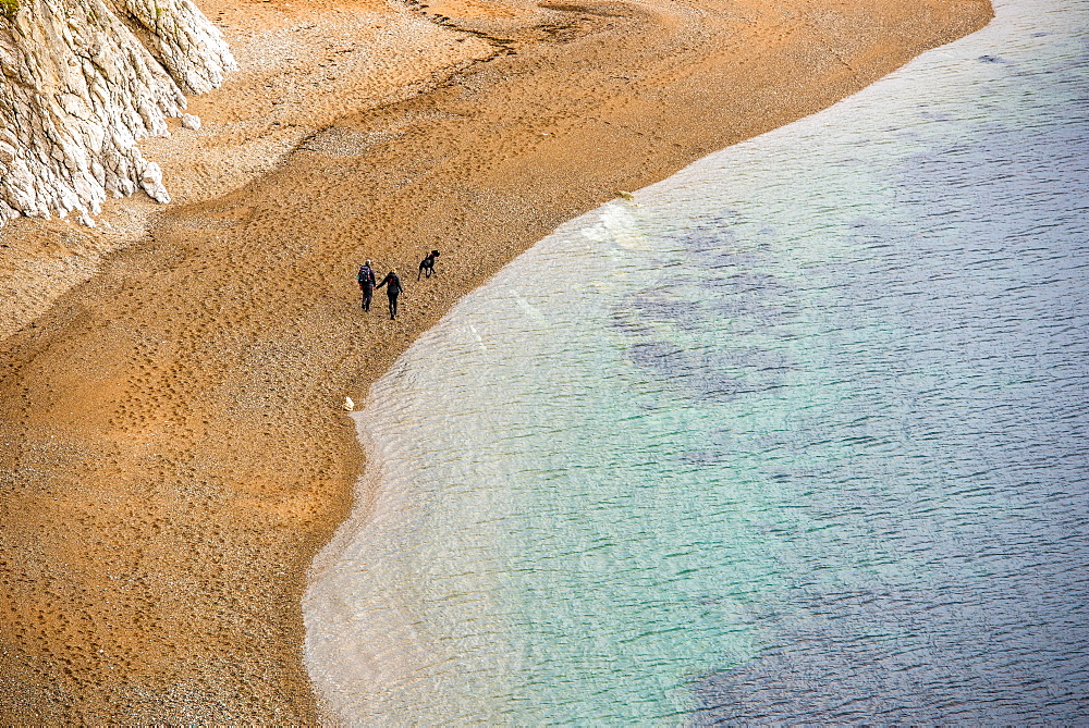 Couple and dog walking along the beach, Jurassic Coast, UNESCO World Heritage Site, Dorset, England, United Kingdom, Europe - 1199-473