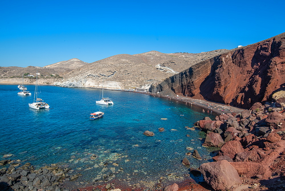 Red Beach, Santorini, Cyclades, Aegean Islands, Greek Islands, Greece, Europe