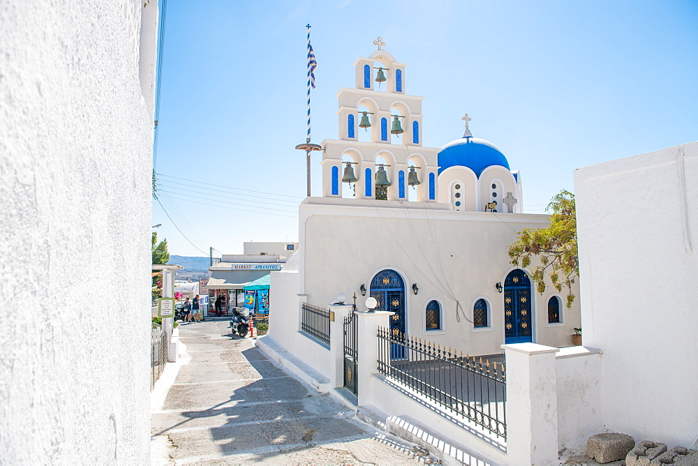 Church bells in Santorini, Cyclades, Aegean Islands, Greek Islands, Greece, Europe