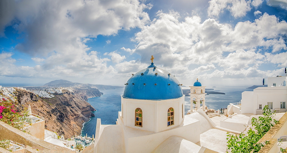 Church Belltowers in Imerovigli, Santorini, Cyclades, Aegean Islands, Greek Islands, Greece, Europe