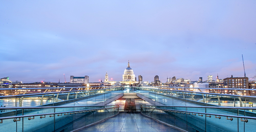Landscape photo of The Millennium Bridge with St. Pauls in the background, London, England, United Kingdom, Europe - 1199-584