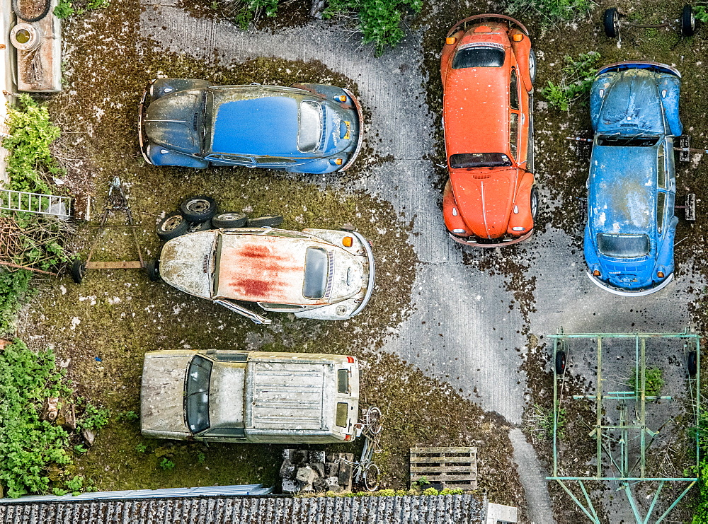 Aerial photograph of a car scrapyard, United Kingdom, Europe