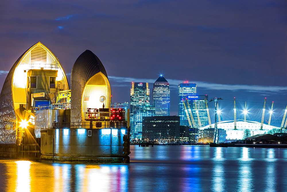 Thames Barrier, Millennium Dome (O2 Arena) and Canary Wharf at night, London, England, United Kingdom, Europe - 1199-74