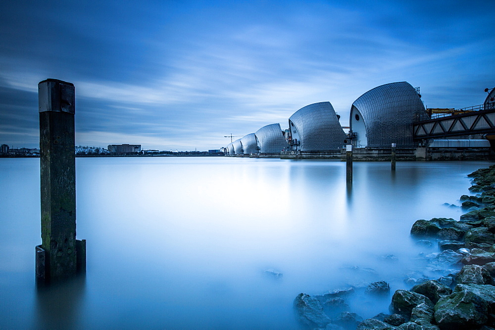 Thames Barrier on the River Thames, London, England, United Kingdom, Europe - 1199-76