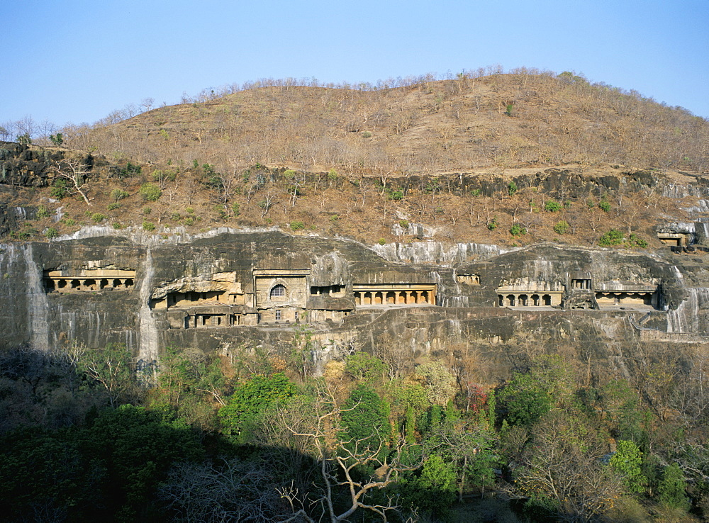 Early morning view of the caves, Ajanta, UNESCO World Heritage Site, Maharashtra state, India, Asia