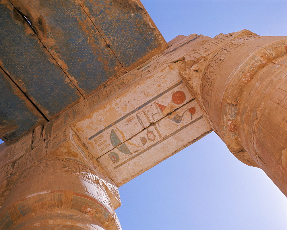 Detail of temple at Medinet Habu, Thebes, UNESCO World Heritage Site, Egypt, North Africa, Africa