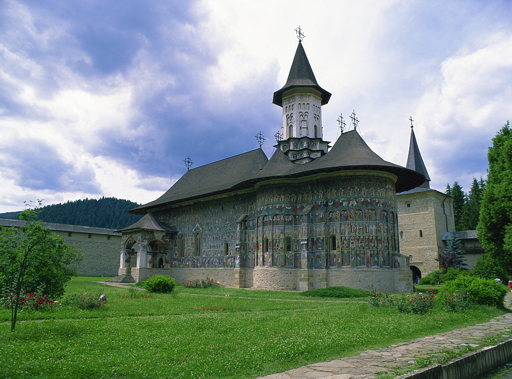 Sucevita Monastery from the southeast, with wall paintings dating from around 1590, UNESCO World Heritage Site, North West Moldavia (South Bucovina), Romania, Europe
