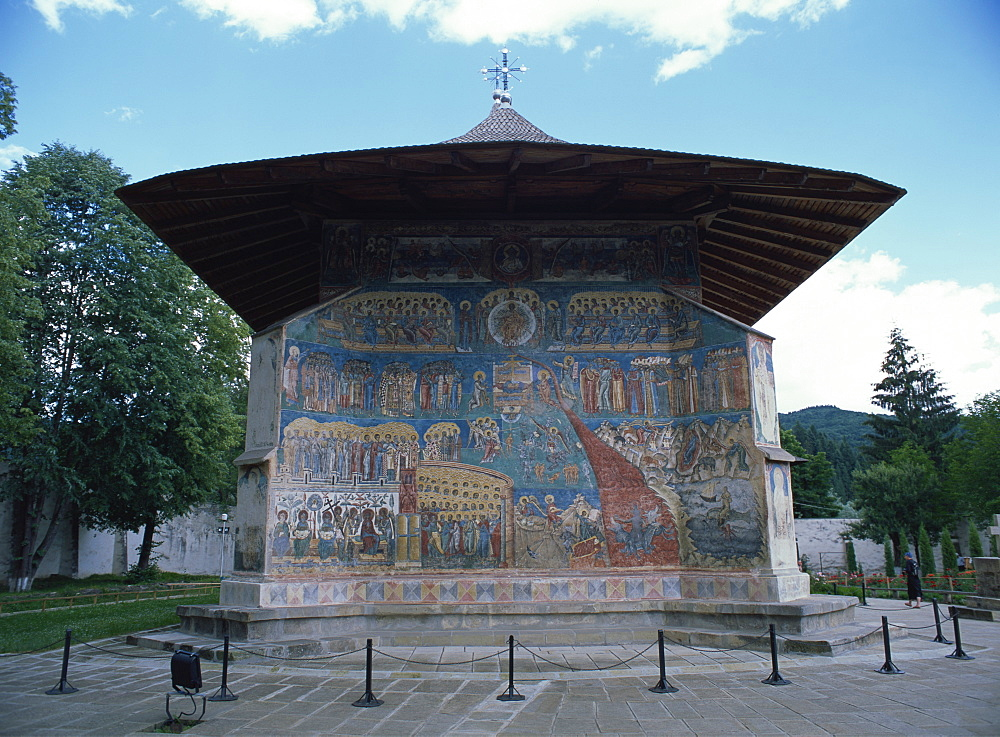 West end, with Last Judgement painting dating from 1547 to 1550, Voronet Monastery, UNESCO World Heritage Site, North West Moldavia (South Bucovina), Romania, Europe