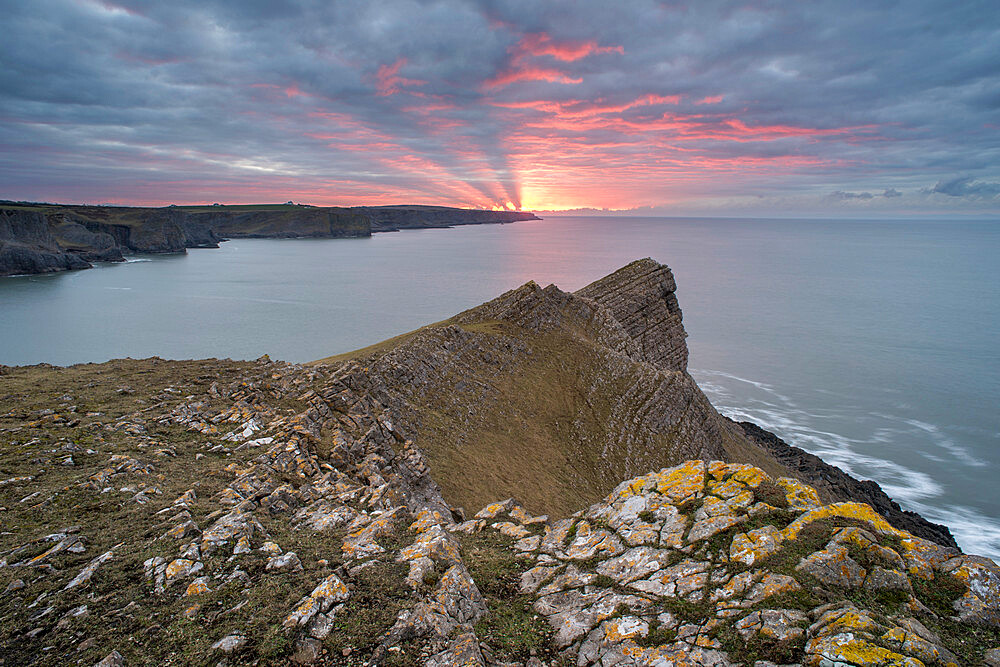 View towards Fall Bay and Mewslade Bay, at sunrise, Gower Peninsula, South Wales, United Kingdom, Europe - 1200-118