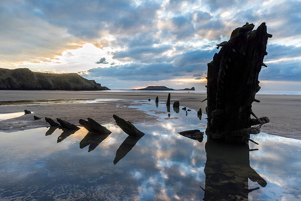 Helvetia shipwreck at low tide, Rhossili Bay, Gower Peninsula, South Wales, United Kingdom, Europe - 1200-121