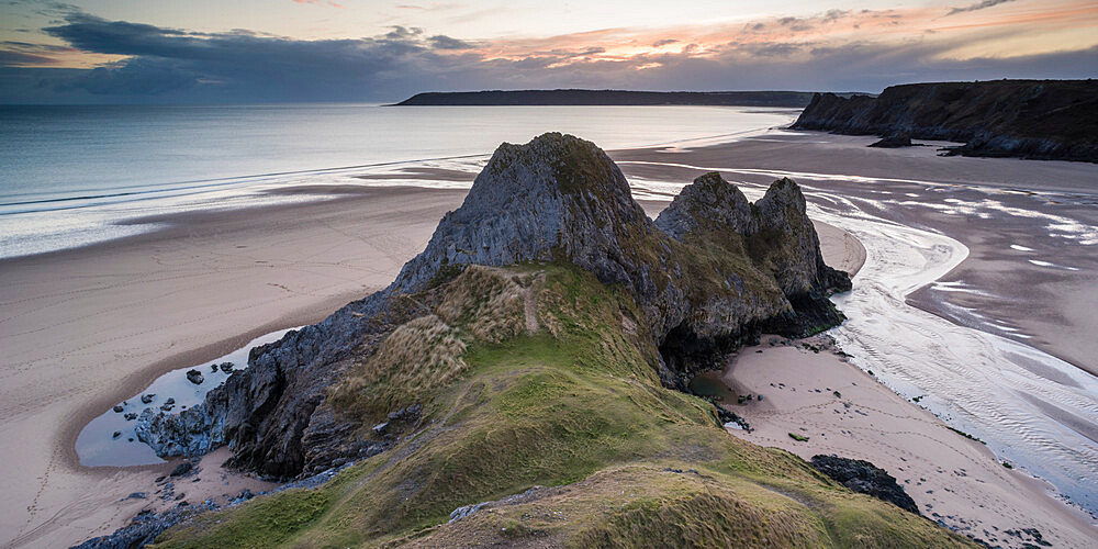 Three Cliffs Bay at sunset, Gower Peninsula, South Wales, United Kingdom, Europe - 1200-132