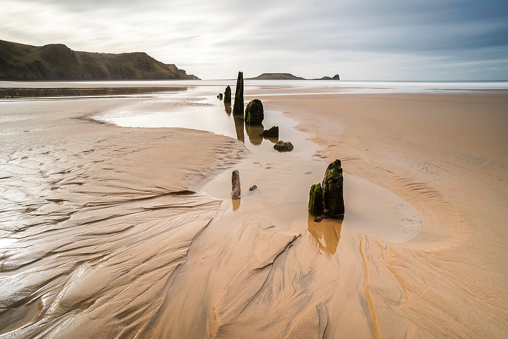 Helvetia shipwreck at low tide, Rhossili Bay, Gower Peninsula, South Wales, United Kingdom, Europe - 1200-133