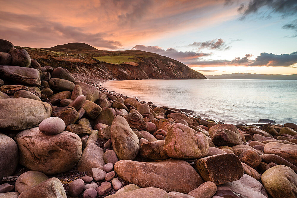 Storm beach at sunrise, Minard Bay, Dingle Peninsula, County Kerry, Munster, Republic of Ireland, Europe - 1200-134