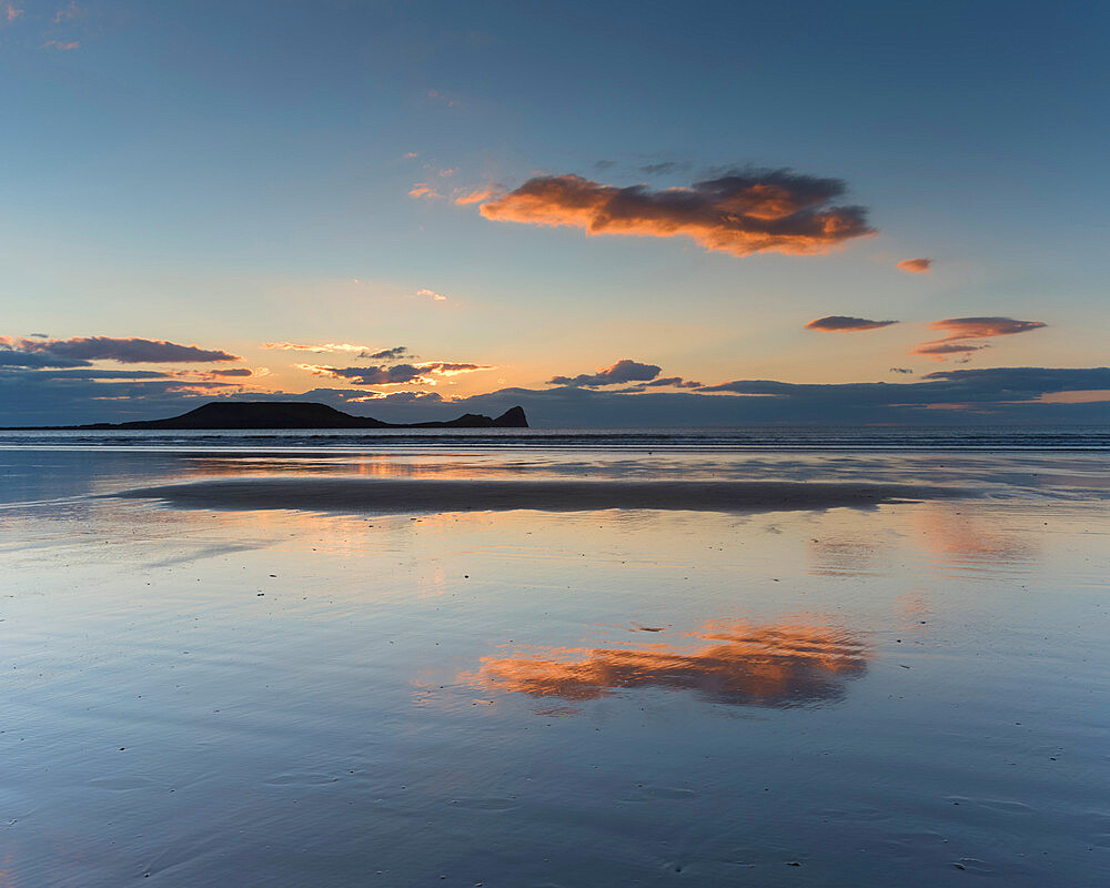Rhossili Beach at sunset, Gower Peninsula, South Wales, United Kingdom, Europe - 1200-136