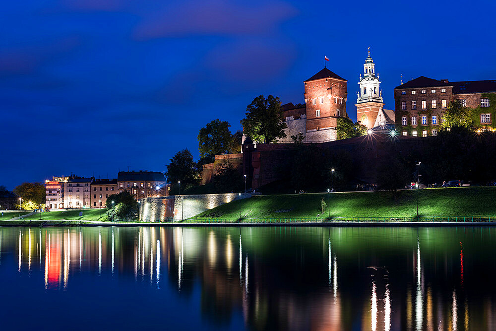 Wawel Castle, UNESCO World Heritage Site, across Vistula River, at night, Krakow, Poland, Europe - 1200-137