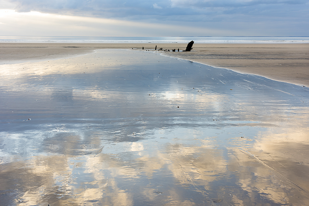 Low tide, sunset, Rhossilli Bay, Gower, South Wales.