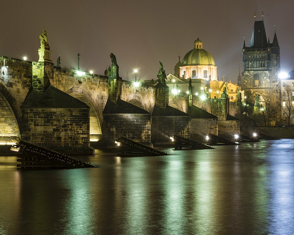 Charles Bridge at night, UNESCO World Heritage Site, Prague, Czech Republic, Europe