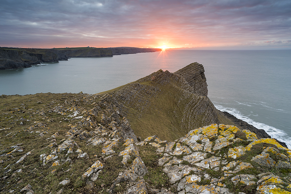 Sunrise over Fall Bay, Gower, South Wales, United Kingdom, Europe