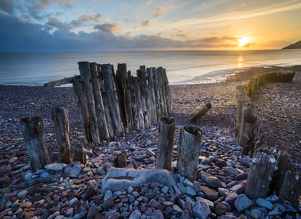 Remains of a wooden groyne at Porlock Weir, sunrise in spring, Somerset, England, United Kingdom, Europe