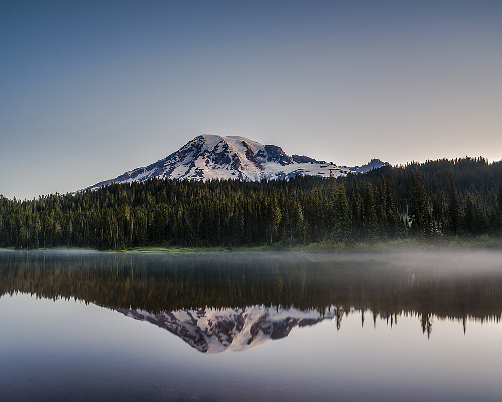 Reflection of Mount Rainier at dawn, Reflection Lake, Washington State, United States of America, North America