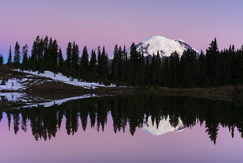 Reflection of Mount Rainier at dawn, Tipsoo Lake, Mount Rainier National Park, Washington State, United States of America, North America