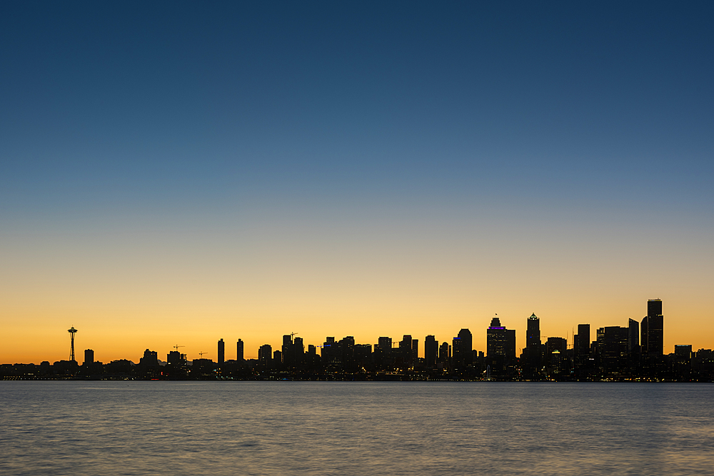 Seattle skyline at dawn, as seen from Alki Beach, Seattle, Washington State, United States of America, North America