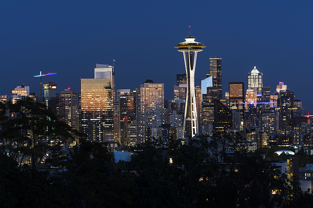Seattle skyline at sunset, Seattle, Washington State, United States of America, North America