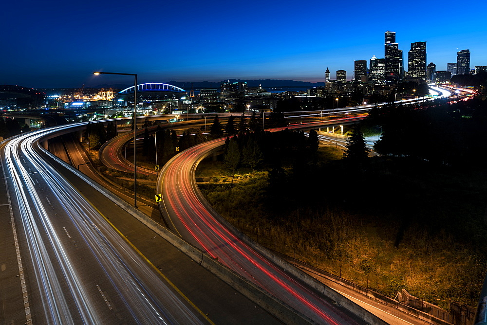 Highways and skyline, Seattle, Washington State, United States of America, North America