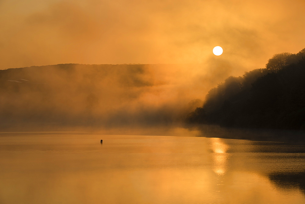 Wimbleball Lake at sunrise, Exmoor National Park, Somerset, England, United Kingdom, Europe