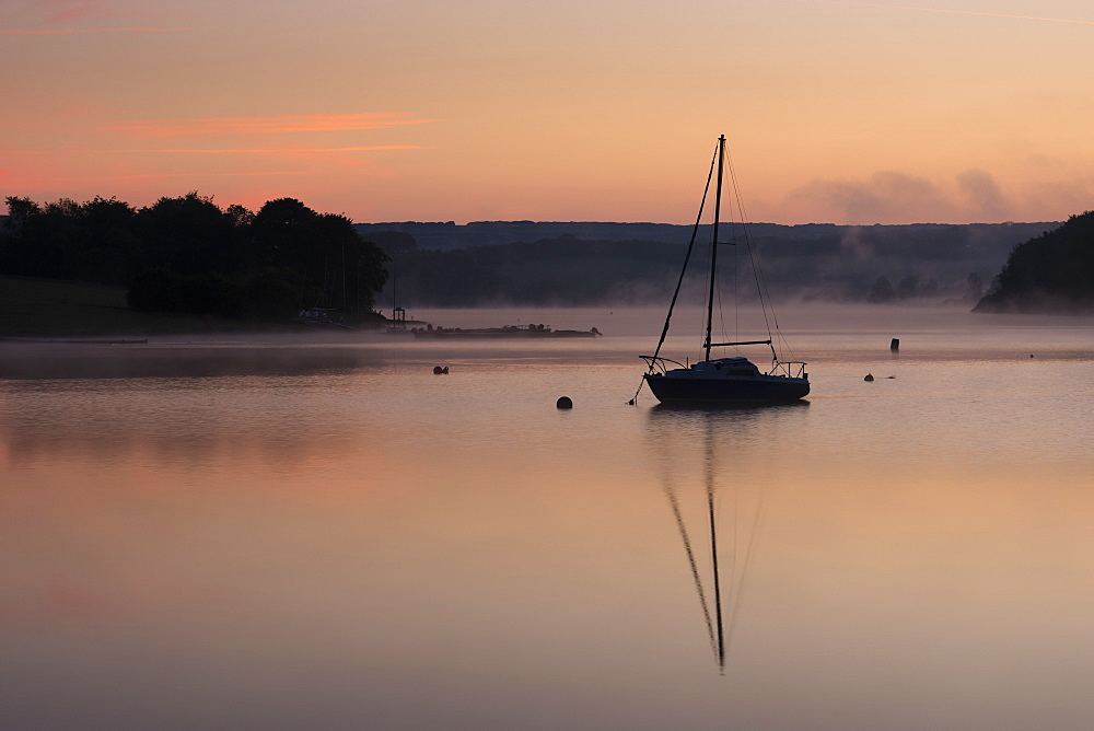 Wimbleball Lake at dawn, Exmoor National Park, Somerset, England, United Kingdom, Europe