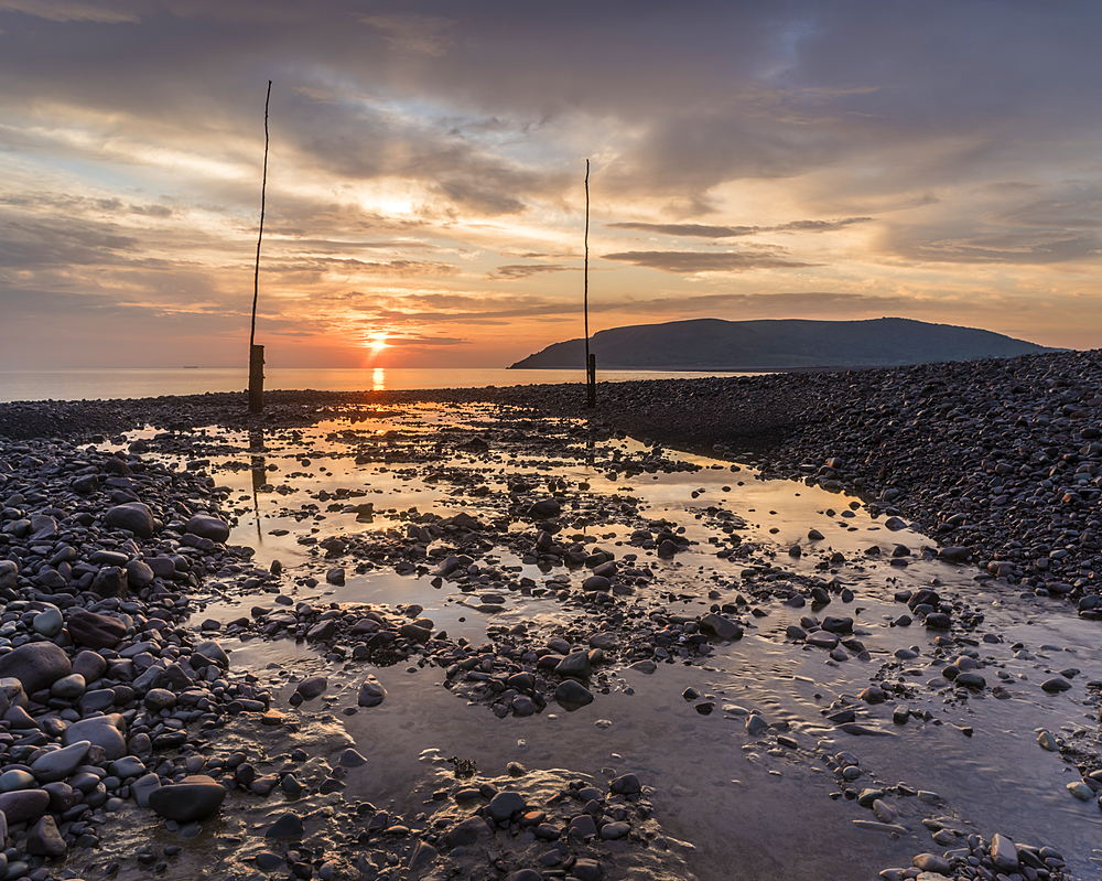 Porlock Weir at sunrise, Porlock, Somerset, England, United Kingdom, Europe