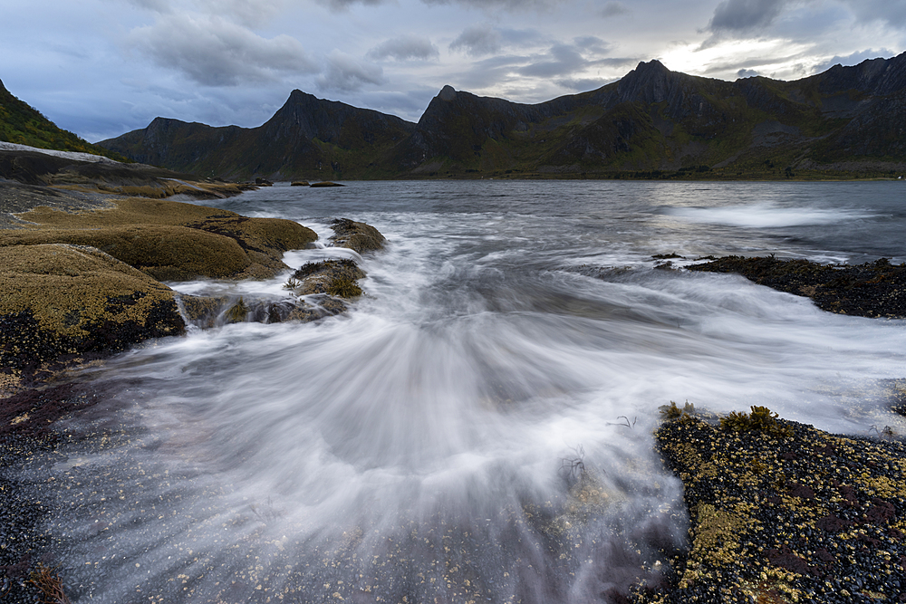 Incoming tide at dusk, Tungeneset, Senja, Norway, Scandinavia, Europe