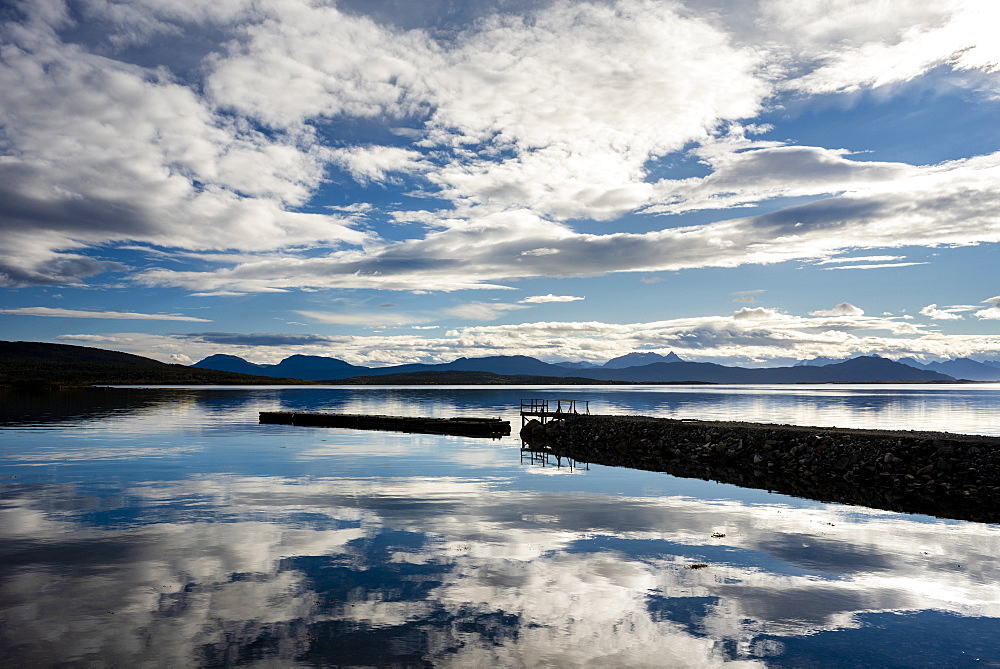 Headland and lake reflection, Senja, Norway, Scandinavia, Europe