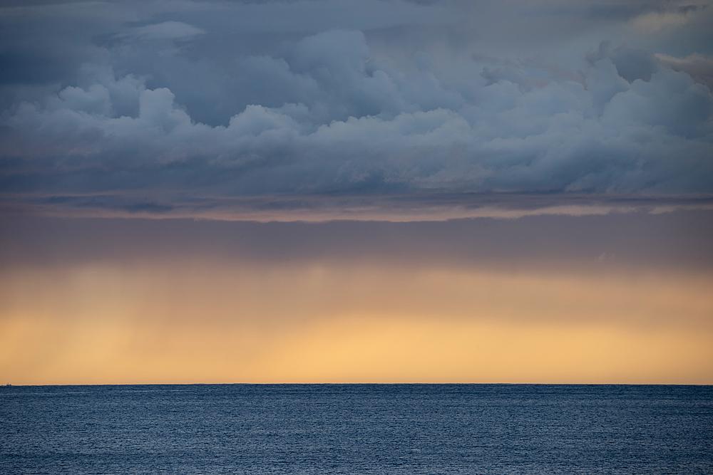 Sunset over Norwegian fjord, Senja, Norway.