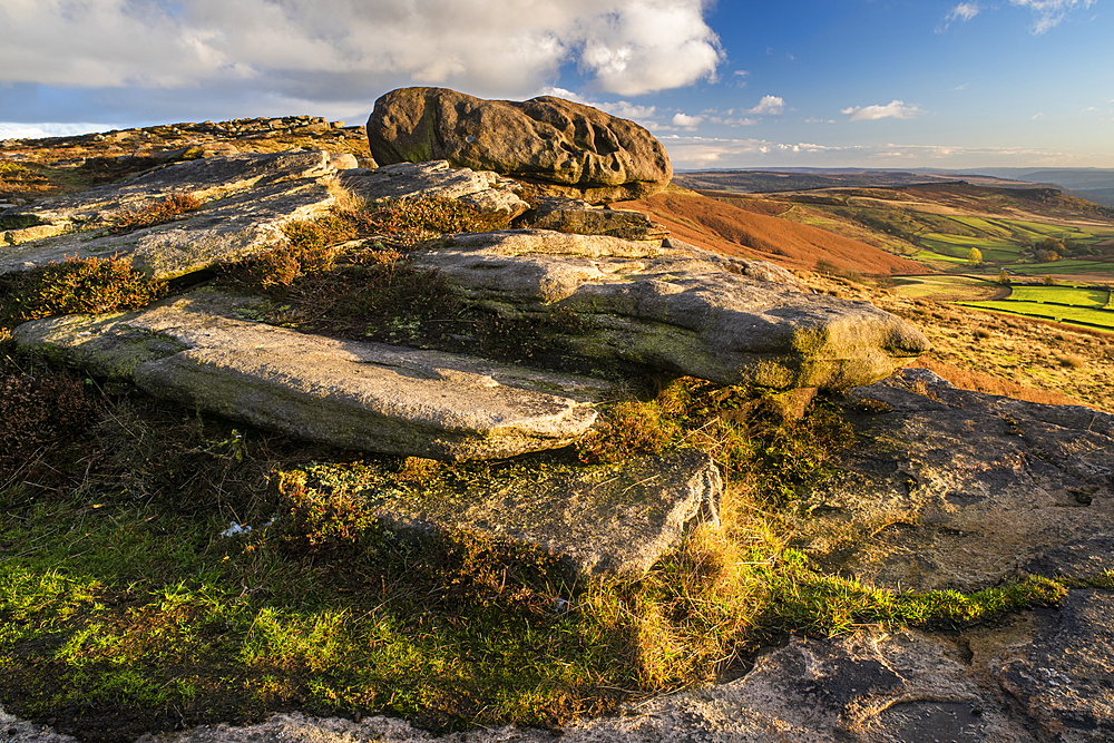 View from Stanage Edge, evening light in autumn, Peak District National Park, Derbyshire, England, United Kingdom, Europe