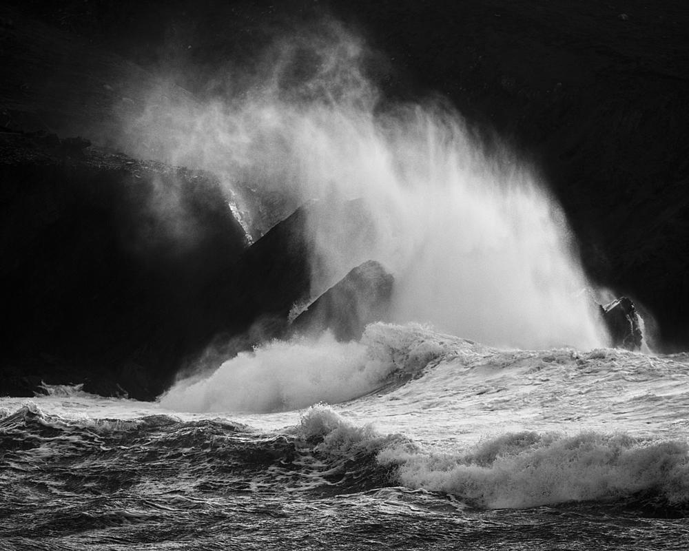 Waves crashing against rocks, Clogher Strand, Dingle Peninsula, Kerry, Republic of Ireland