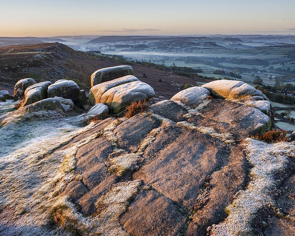 View from Curbar Edge at sunrise in autumn, Peak District National Park, Derbyshire, England, United Kingdom, Europe