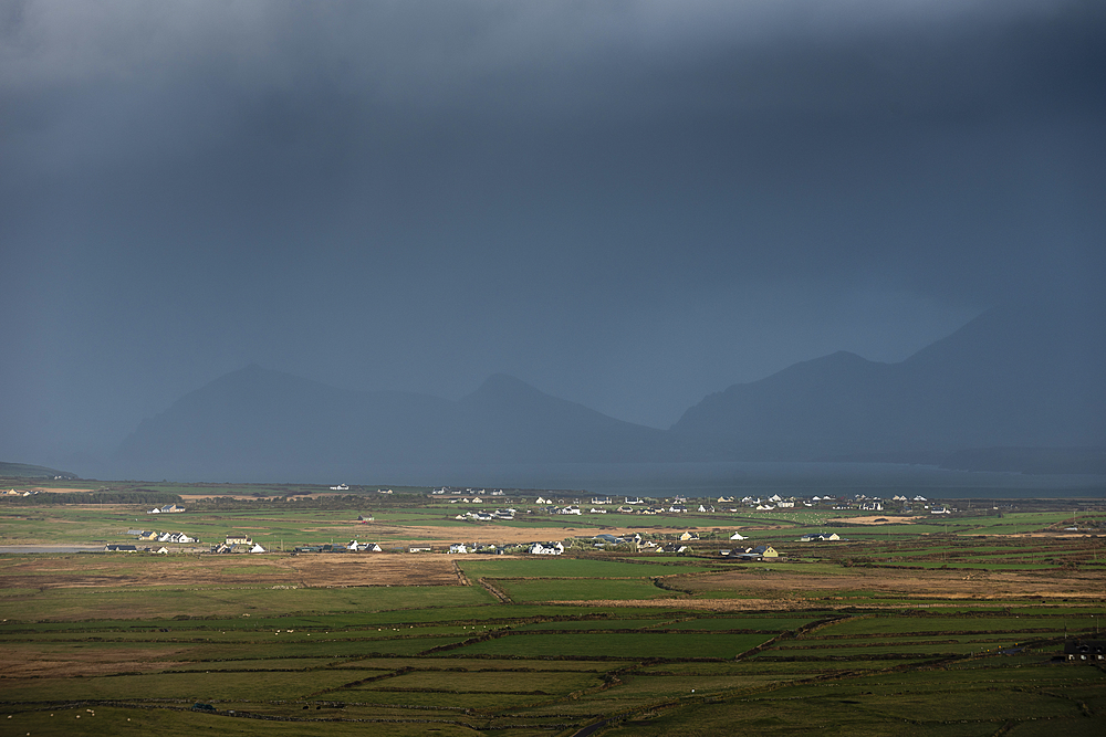 Traditional houses, fierlds and mountains, looking north from Waymont, Dingle Peninsula, Kerry, Republic of Ireland