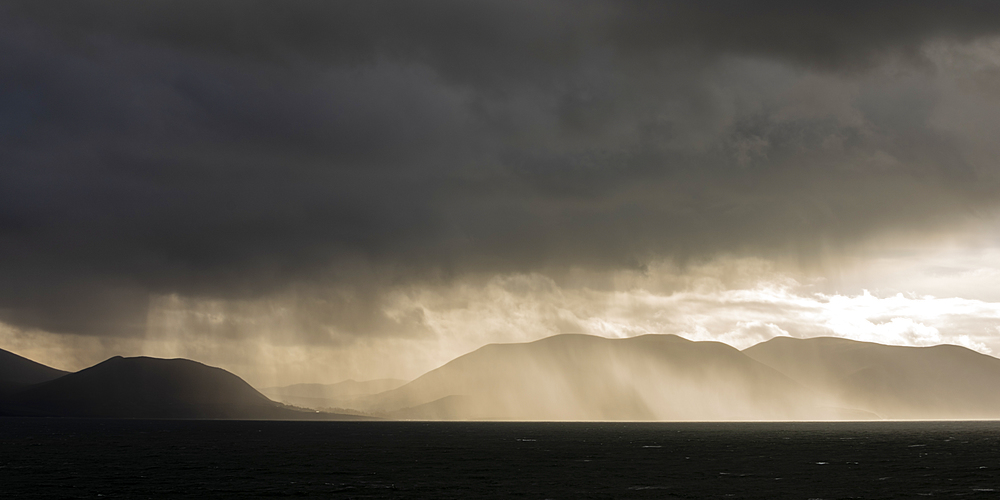 Rain-clouds over the Dingle Peninsula, County Kerry, Munster, Republic of Ireland, Europe